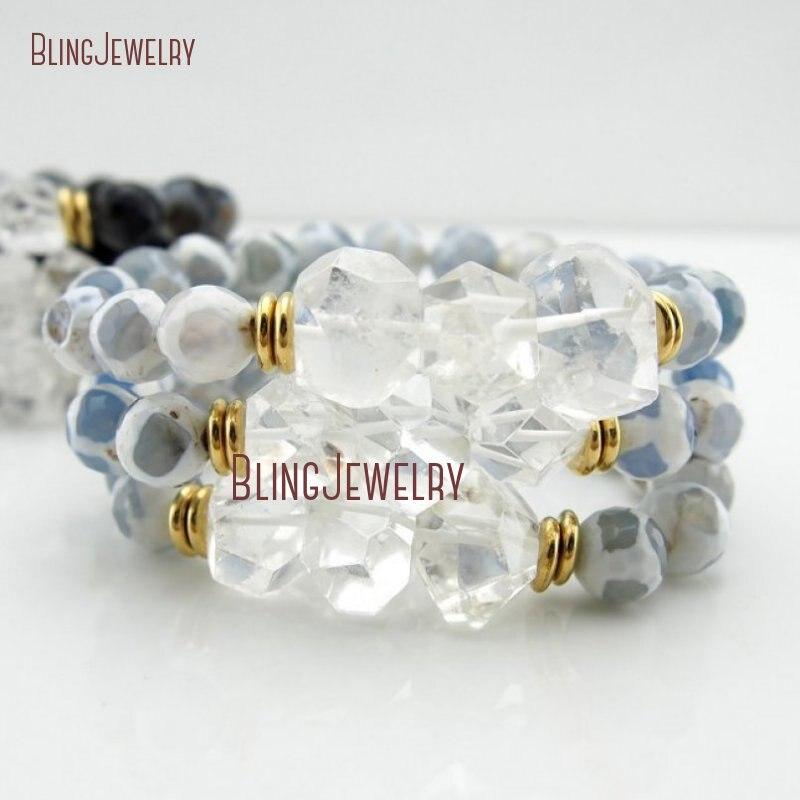 Целебный Прозрачный кристаллический кварц самородки синий жираф Агатовые Бусины Браслеты Многослойные браслеты BM27869 - Окраска металла: BM27869