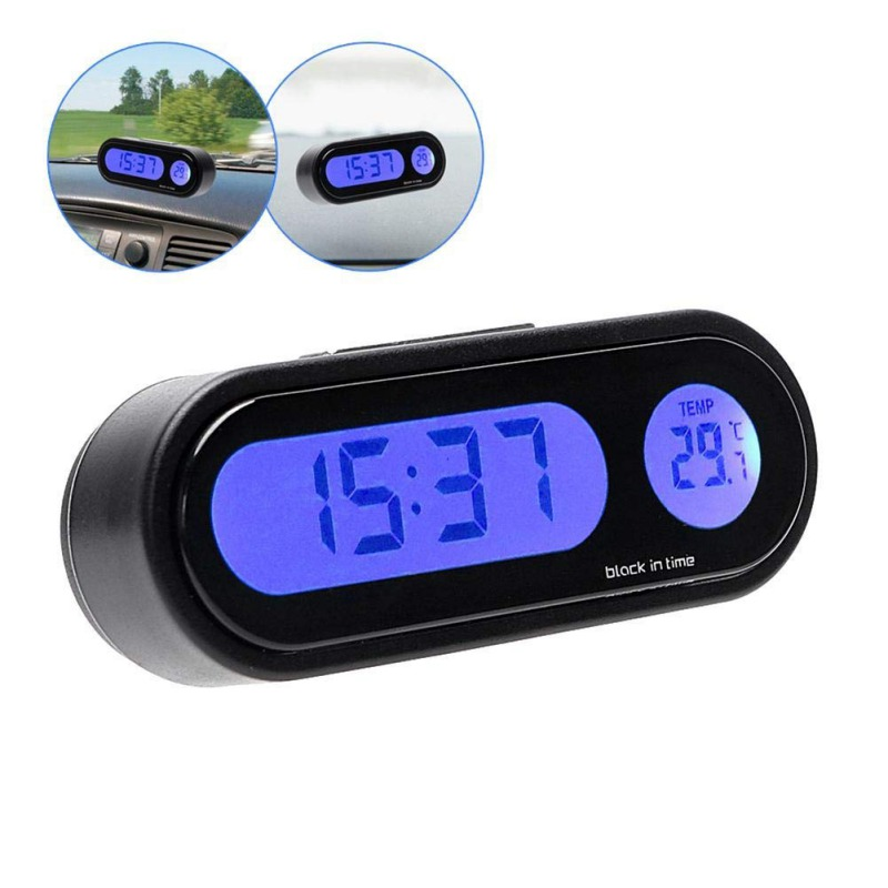 2019 2 In 1 Car Kit Electronic Thermometer Clock LED Digital Display Car Interior Temperature Measurement Tool