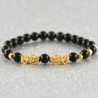 Pure 999 24k Yellow Gold Unisex 3D Pixiu & Faced Bead Black Agate Beads Bracelet 6.3inches