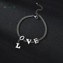 Nextvance – Bracelet en acier inoxydable 2020 pour femmes, chaîne à maillons, lettres d'amour, 21cm