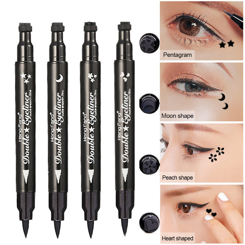 2019Brand New Hot Fashion Double-head Black Liquid Eyeliner Pencil Easy To Wear Makeup Star Heart Moon Flower Stamp Professional