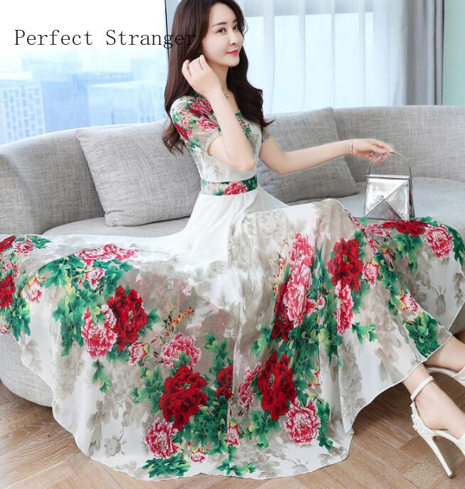 High Quality Plus Size S-3XL 2020 Summer New Arrival  Hot Sale Round Collar Short Sleeve Flower Printed Woman Chiffon Long Dress