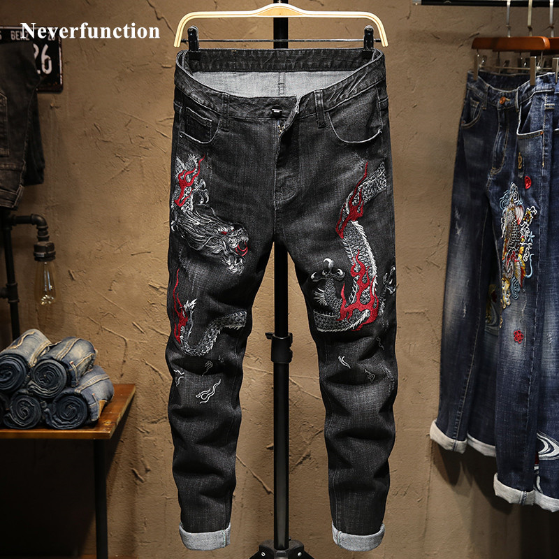 Men Streetwear Slim Fit Dragon Embroidery Stretch Jogger Jeans  Fashion Man Hip Hop Cotton Casual Straight Denim Trousers