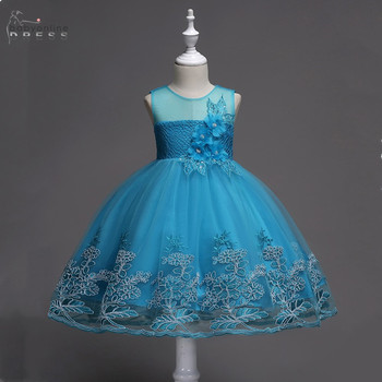 Vestidos De Niña Birthday Banquet Girls Lace Tulle Dresses Ball Gown Flower Girls Dresses Blue Pink In Stock бантики для девочек fashion green and pink rainbow flower fairy costume for girls birthday cupcake layered dresses