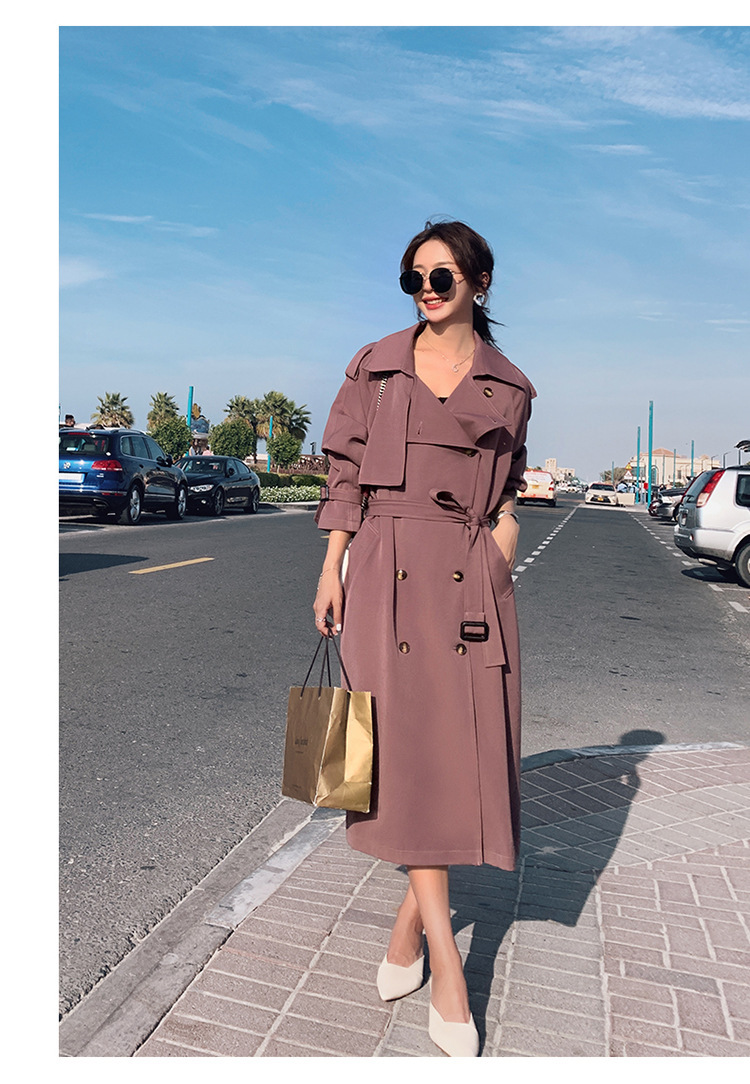 2019Trench coat oversize long   trench   korean   trench   coat for women long pine collar casual waist spring autumn Raspberry color