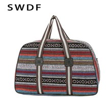 SWDF Folded Color Stripe Ladies Short Distance Travel Duffel Bag 2019 Fashion New Large Capacity Canvas Light WoMen Storage Bag(China)