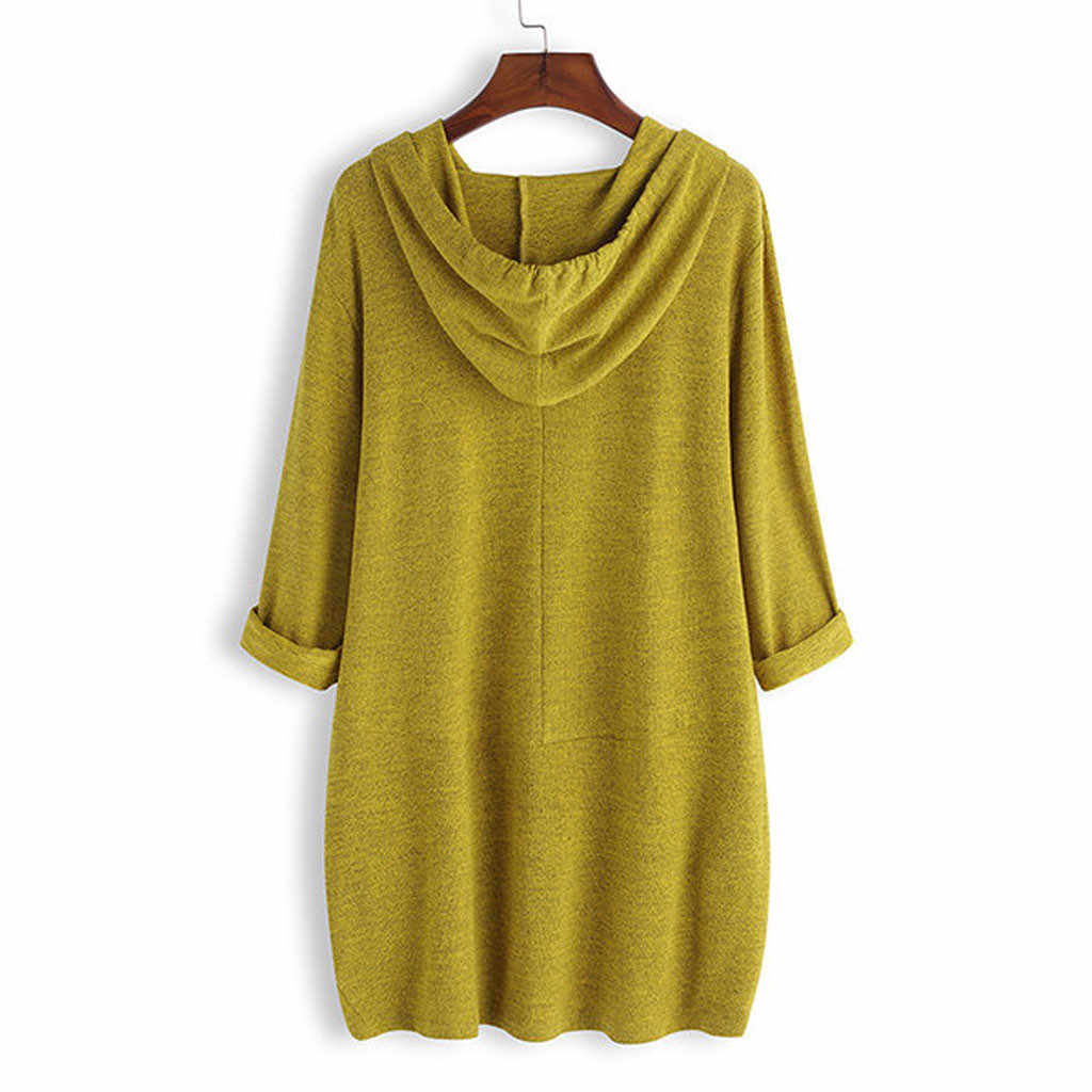 T-Shirt di moda delle donne del vestito più il formato maniche lunghe Autunno inverno delle Donne di Stampa Con Cappuccio Tasca Irregolare Vestito Dalla Parte Superiore Del Y924