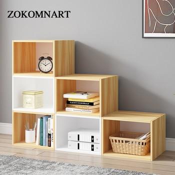 ZOKOMNART Wooden Simple Modern Bookcase Creative Combination Lockers Multi Lattice Cabinets Living Room Bedroom Storage Cabinet