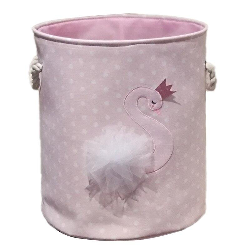 Dirty Laundry Basket Pink Swan Organizer Basket Drawstring Storage Baskets For Toys Books D35XH40cm Swan Pattern