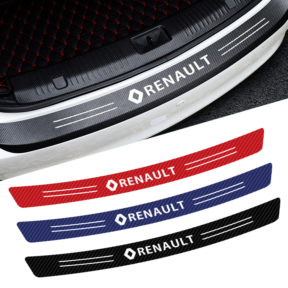 Car-Styling Tail Trunk Bumper Protection Carbon Fiber Sticker For Renault Megane 2 3 Duster Logan Clio Laguna 2 Captur Decal