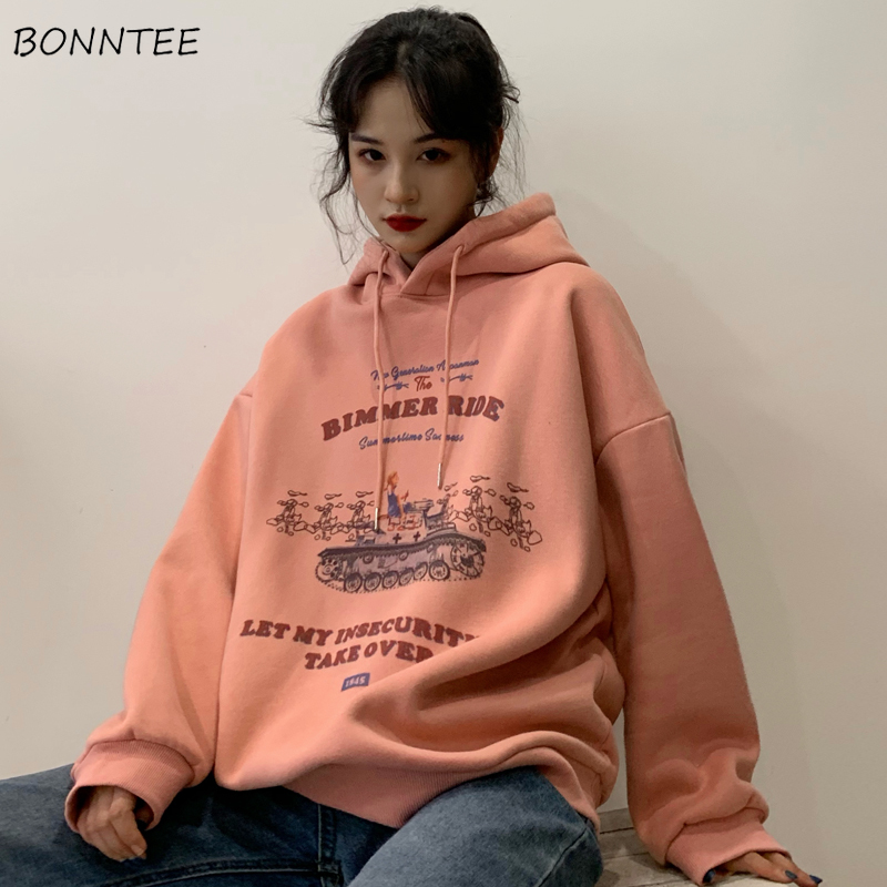 With Hat Hoodies Women Harajuku Hooded Ulzzang Korean Style Womens Outwear Top For Students All-match Fashionable Ladies