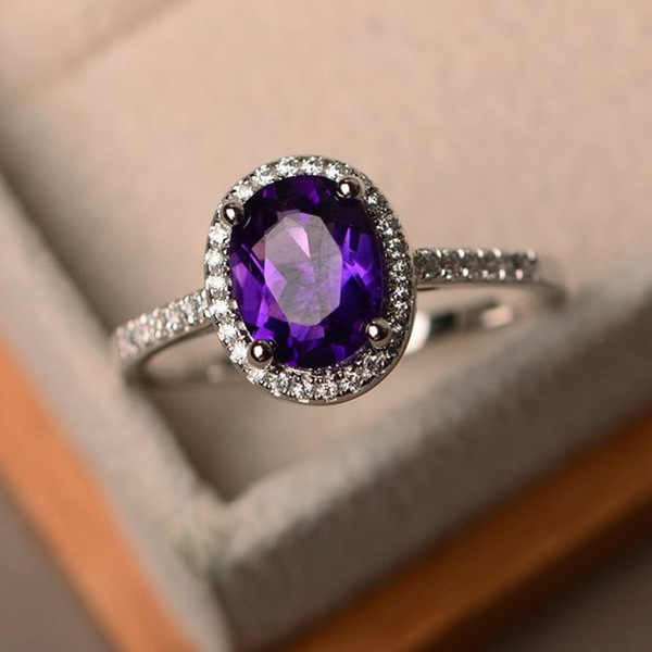 Trendy Brand Desgin CZ 925 sterling silver Ring Big round Blue green purple black Stone Rings For Women Jewelry Wedding Gift