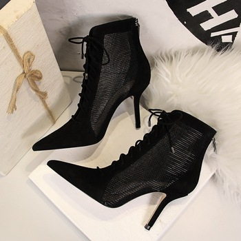 European And American-Style High Heel Pointed Cross Lace-up Suede Pointed-Toe Mesh Hollow Sexy Nightclub Lace-up Ankle Boots viisenantin hot sexy ankle long feather lady t show summer sandal shoe bandage lace up pointed toe black white red feather