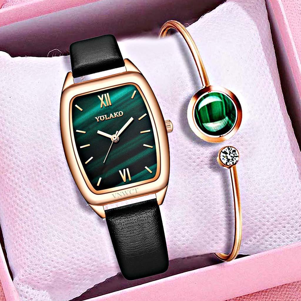 European American Style Women Watch Female Multicolor barrel-Shaped Niche Ladies Watch Leather belt Small Green Watch Female