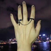 2021 retro punk hip hop cruz anel de dedo corrente ajustável dois link anel jóias presente das mulheres dos homens gótico jóias anéis