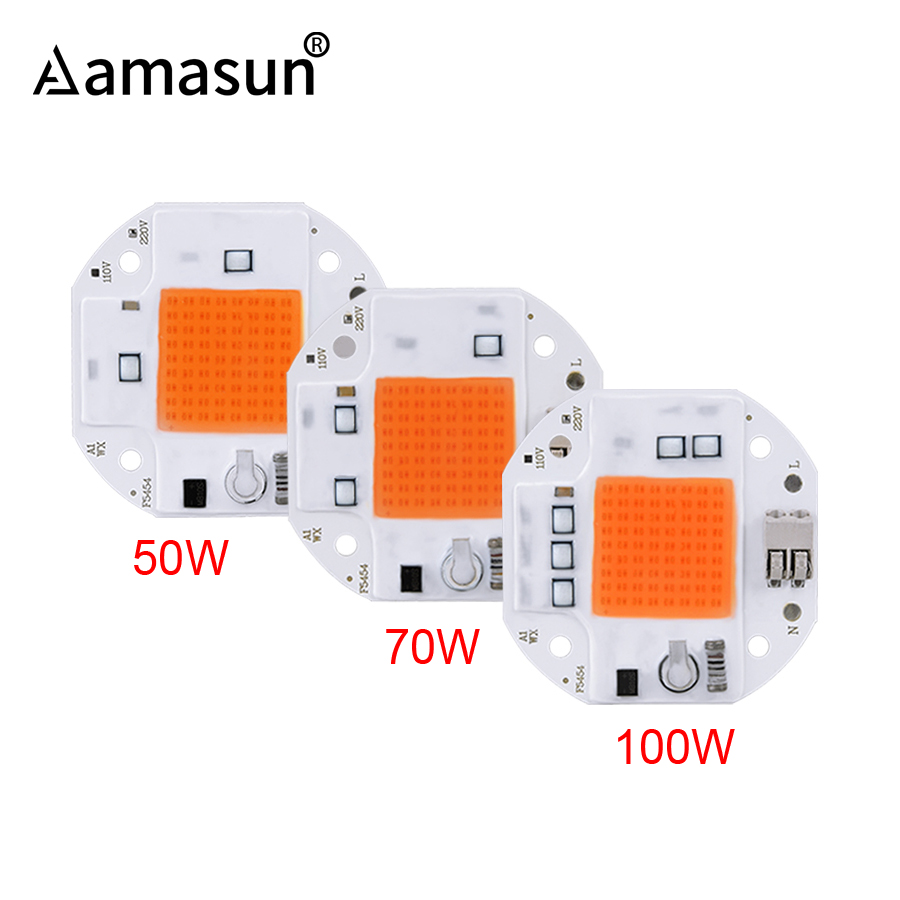 100W 70W 50W Welding Free LED COB Chip for Plants Growing Grow Tent 220V 110V LED Grow Light Full Spectrum LED Phyto Lamp()