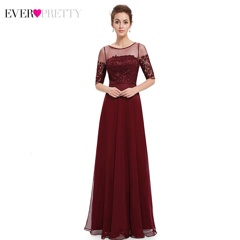 Ever Pretty Elegant Evening Dresses Long A-Line O-Neck Half Sleeve Lace Party Gowns Cheap Chiffon Formal Dresses Abendkleider