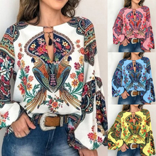 Women Printed Shirt Casual Vintage Blouse Lantern Sleeve Plus Size Top Loose V Neck Blusas Mujer De Moda blouse woman 2019