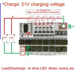21 в 100A BMS 5S полимерный литий-ионный аккумулятор модуль защитной цепи PCM 18650 литий-полимерный литий-лимно баланс зарядки доска