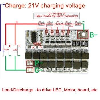 цена на 21V 100A BMS 5S 18650 Li-ion Battery Protection Circuit Board Charger Balancer 5S BMS PCM 18650 Lipo Li-POLYMER Balance Charging