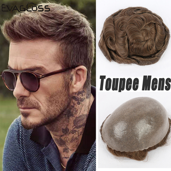 EVAGOLSS Male Human Hair Wig Full PU Remy Human Hair Transparent Toupee Mens Prosthetic Hair Replacement System Mens Toupee