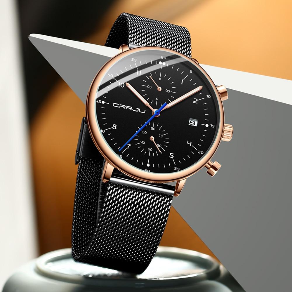 Image 3 - Mens Watch 2019 CRRJU Luxury Men Stainless Steel WristWatch Mens Military Full Steel Date Quartz watches relogio masculinoQuartz Watches   -