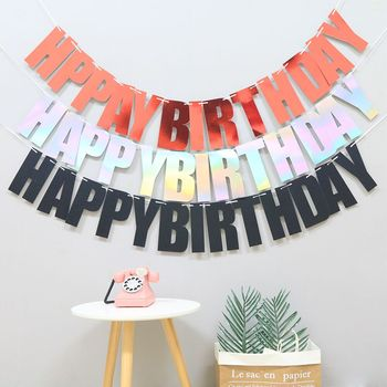 Glitter Paper Happy Birthday Banners Garland Flag Kids Party Decoration Photo Booth Hanging Decor Supplies
