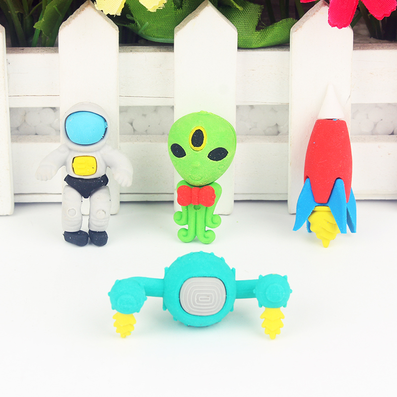 Cute Outer Space Rocket Pens Eraser Kawaii Pencil Erasers For Kids Rubber Stationery School Supplies Student Prizes Gifts
