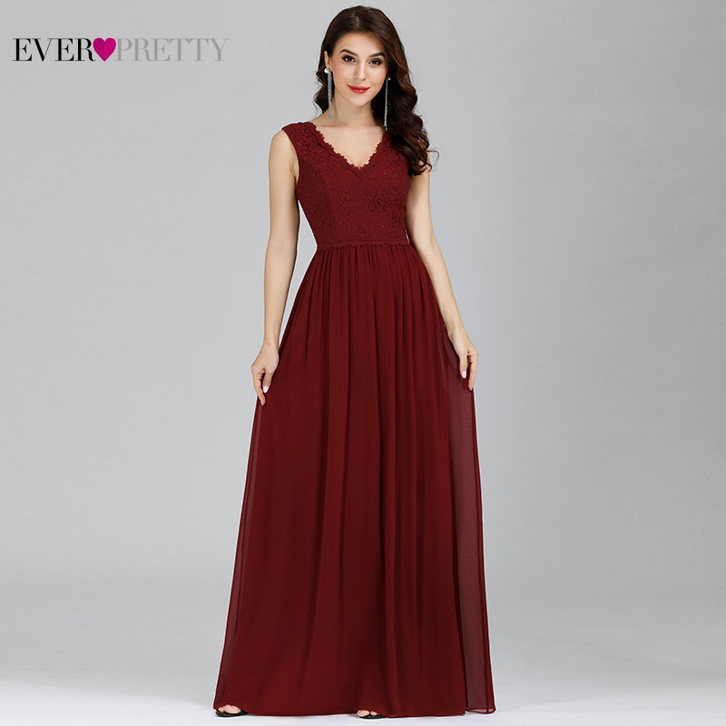 Navy Blue Bridesmaid Dresses Ever Pretty EP07676 Lace Beading A-line Chiffon Sleeveless Long Party Gowns for Wedding Guest