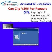 V206 para renault pode clipe ativado para 2029 obd2 scanner de diagnóstico software link + 3 presentes reprog v191 extrator pino diálogos