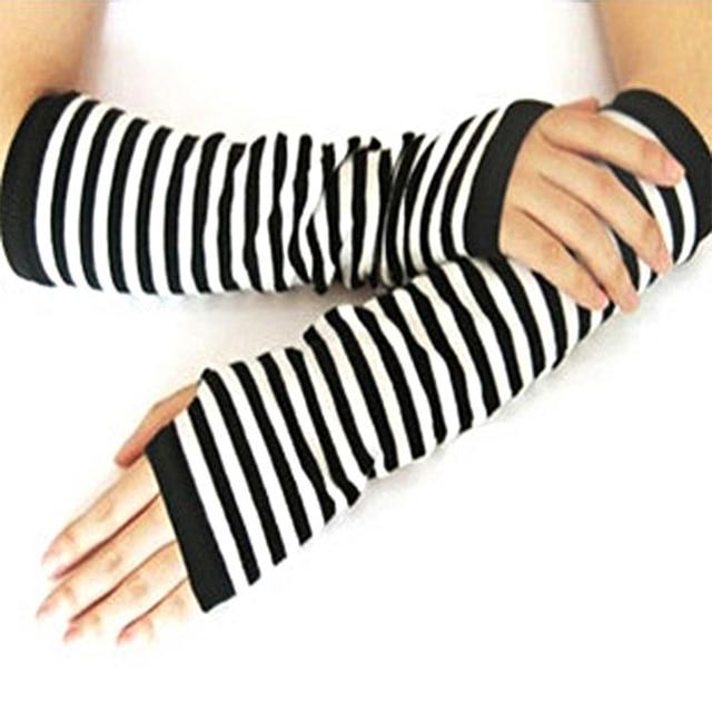 Fingerless Gloves Arm Sleeve Anime Women Fishnet Sports Emo Punk Striped Hand Warmer Mesh Long Gloves Cotton Fashion Sleeves 3