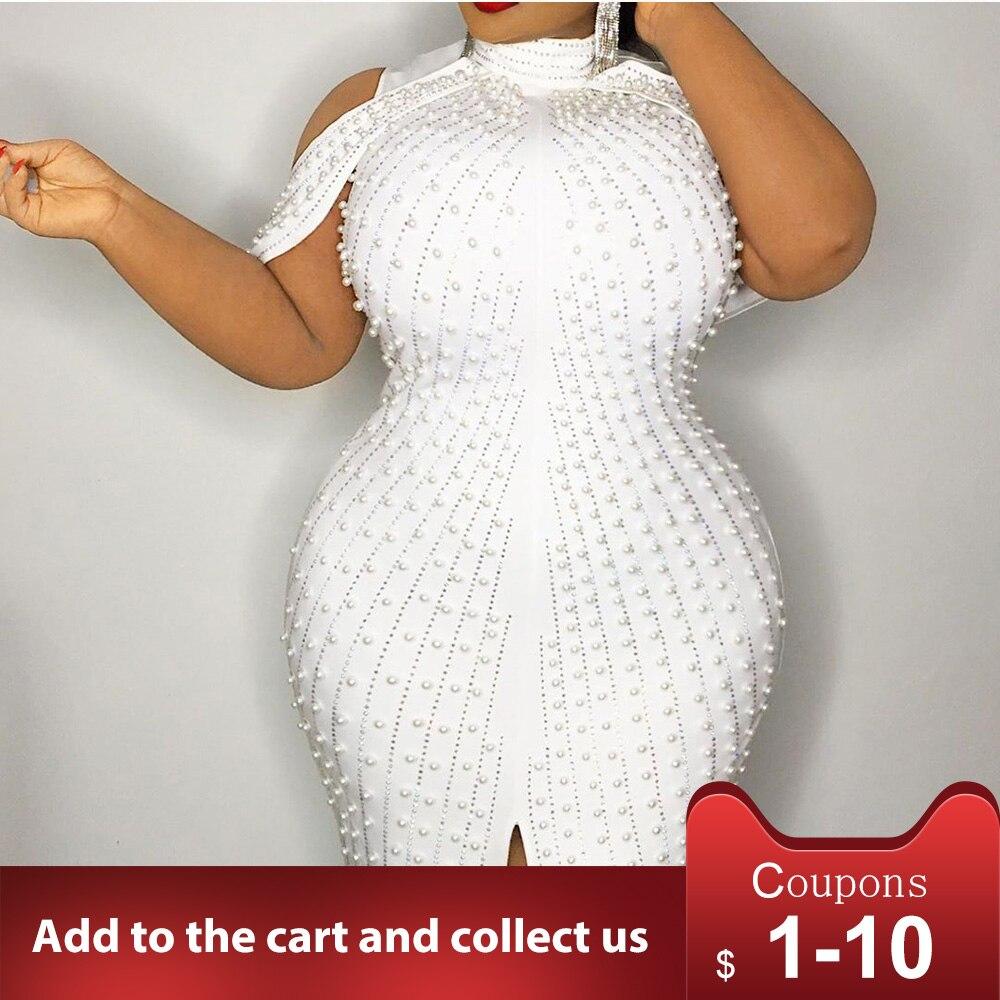Beading White Plus Size Bodycon Dress 5xl 2020 Sexy Party Dinner Club Midi Dresses Robe Elegant Split Female Vestiosds Summer 2