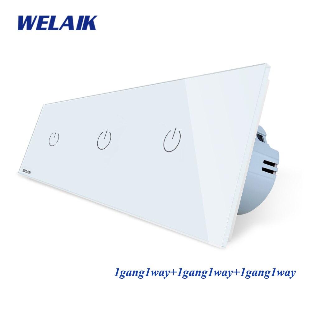 WELAIK Brand 3Frame-Crystal Glass-panneau EU interrupteur mural EU interrupteur tactile écran lumière-interrupteur 1gang1way AC110 ~ 250V a391111cw/B