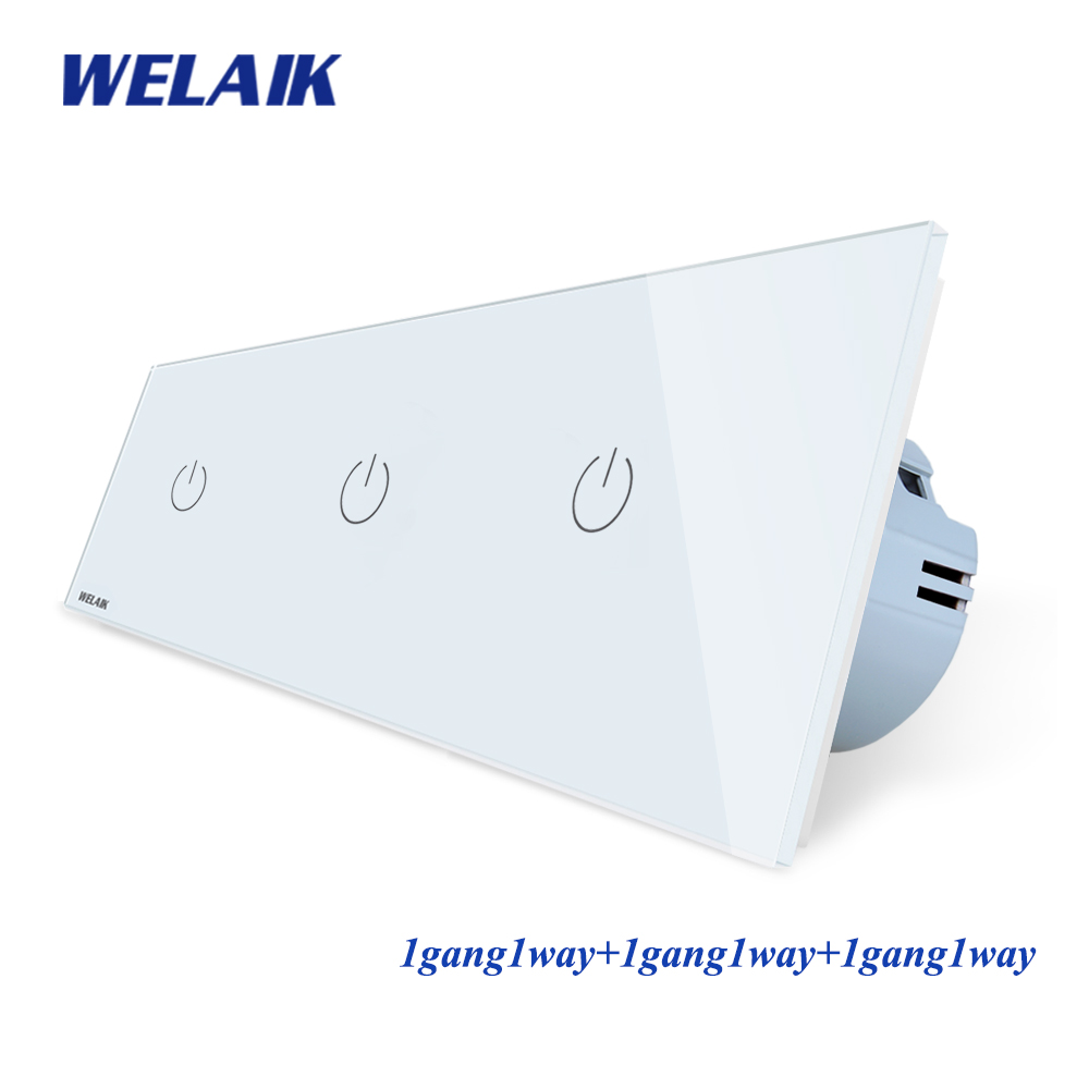 WELAIK Brand 3Frame Crystal Glass Panel  EU Wall Switch EU Touch Switch Screen Light Switch 1gang1way AC110~250V A39111111CW/B-in Switches from Lights & Lighting