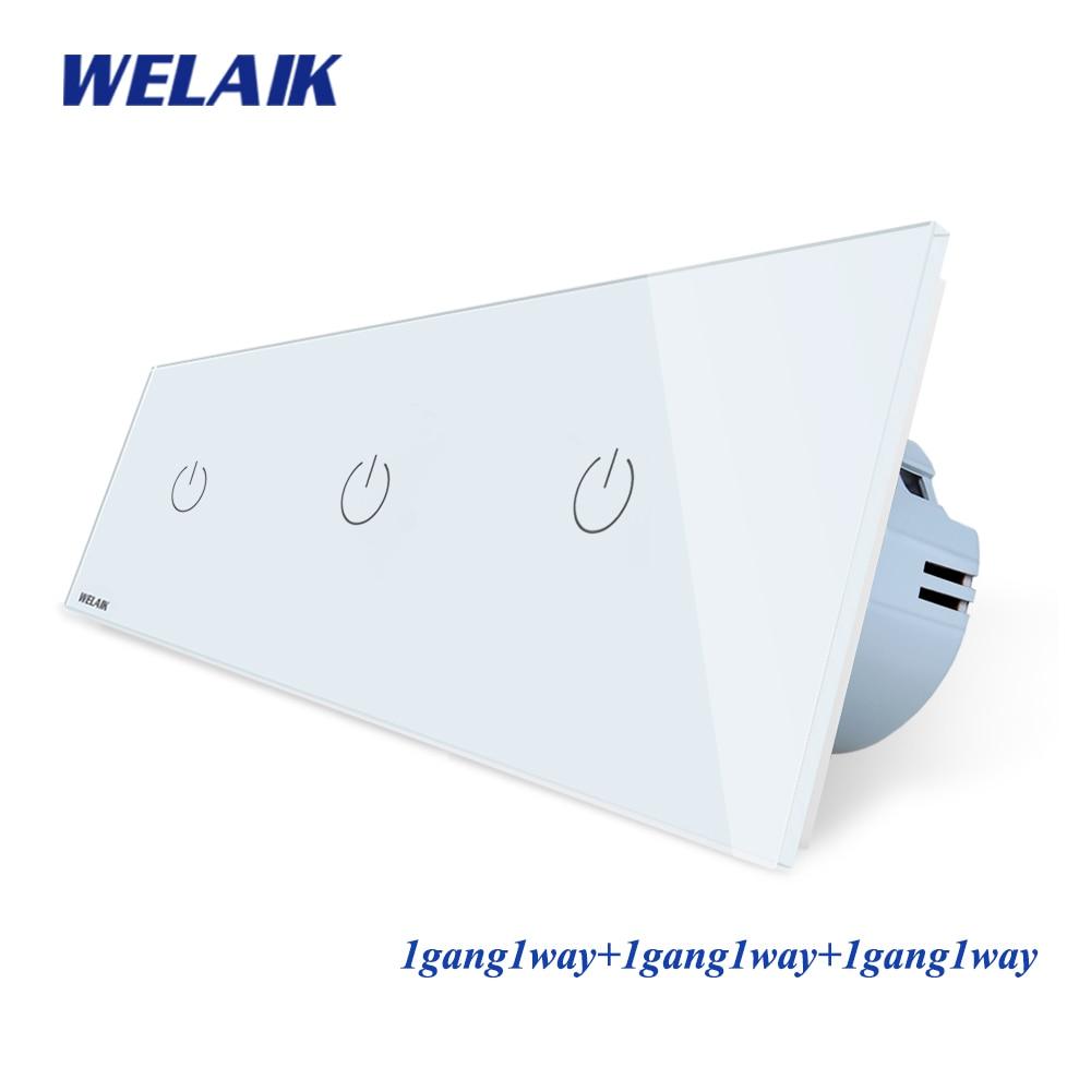 WELAIK Brand 3Frame-Crystal Glass-Panel  EU Wall-Switch EU Touch-Switch Screen Light-Switch 1gang1way AC110~250V A39111111CW/B