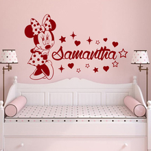 Disney Minnie Mouse Wall stickers Custom Name Girls Bedroom accessories for Kids Room Personalized Animal Nursery Decor