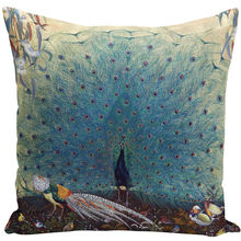 Vintage Oil Painting Cushions Cover 45x45cm Blue White Peacock Decorative Throw Pillows Case for Couch Home Sofa Decor