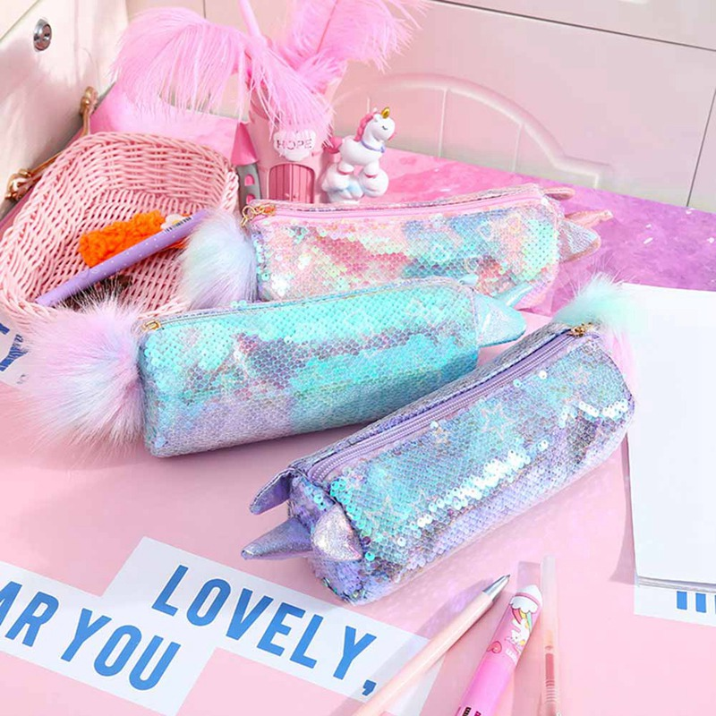 <font><b>Kawaii</b></font> Unicorn <font><b>Pencil</b></font> <font><b>Case</b></font> <font><b>School</b></font> Sequin Pencilcase for Girls Pen Box Multi <font><b>Big</b></font> Cosmetic Penal Bag Cute Korean Cartridge Pouch image