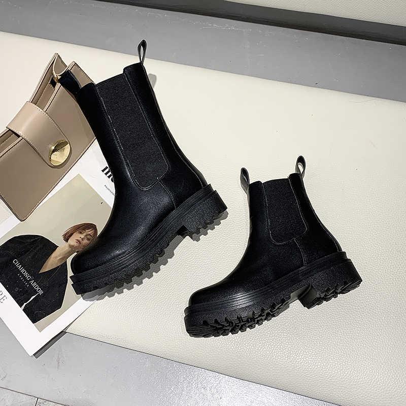 Yeni kadın kış sıcak günlük çizmeler en kaliteli moda botlar rahat yüksek Top çizmeler yumuşak Chelsea çizmeler yükseltme botları