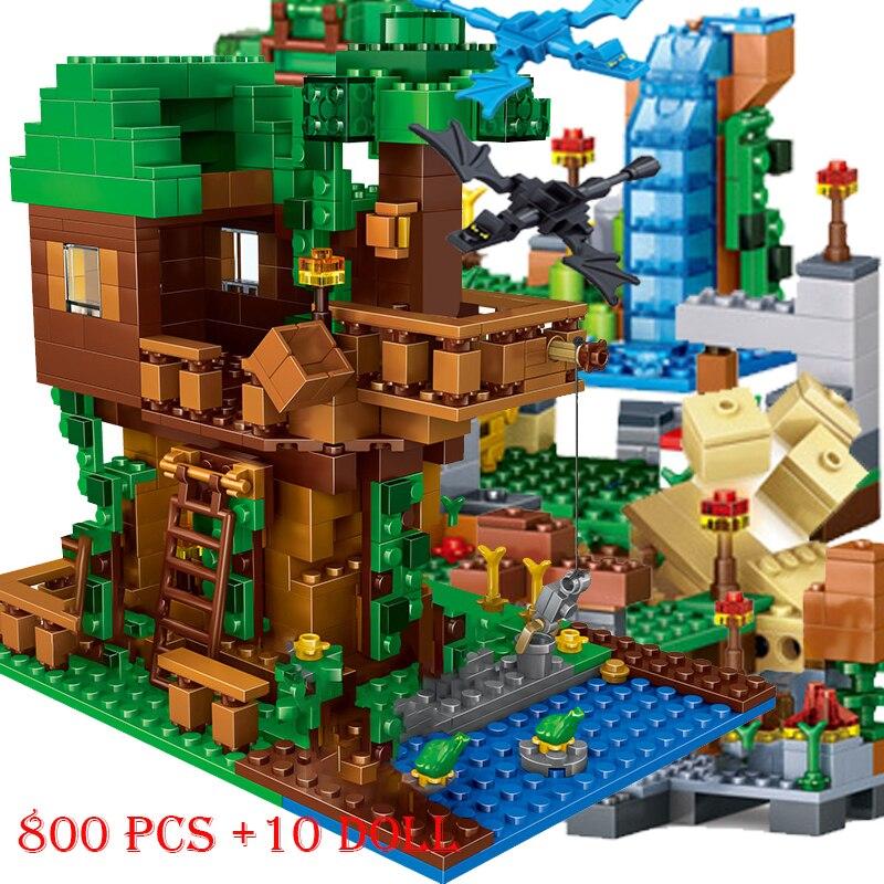 1208PCS Building Blocks Mountain Cave Light My Worlds Village Warhorse City Tree House With Elevator Bricks Toys Children Gift(China)