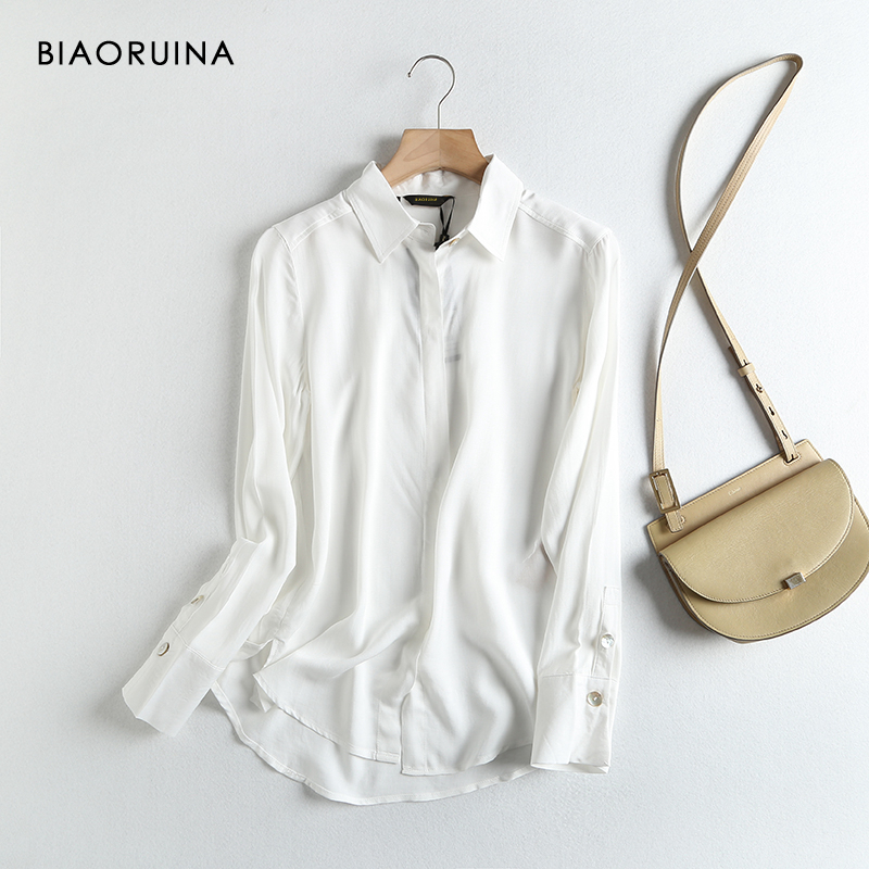 BIAORUINA Women's White Classic Shirt Long Sleeve Square Collar Office Lady Casual Everyday Blouse Elegant Tops New Arrival