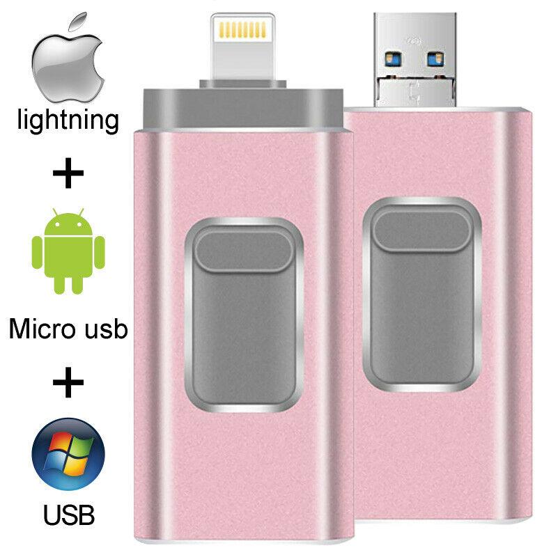 16GB/32GB/64GB/128GB/256GB/512GB OTG 3 In1 IOS Flash Drive Cle USB 3.0 Memory Stick For IPhone 5/6/7/8/X/11 IPod IPad Android PC