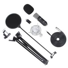 LESHP Black Durable Professional Flat Head Condenser Broadcasting Recording Microphone With 35 Bracket set & USB Sound Card(China)