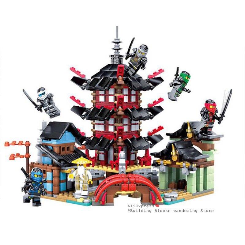 Ниндзя храма лодка Дракон 737 + шт DIY строительные блоки наборы обучающие игрушки для детей совместимы с lepining Ninjagoes фильм