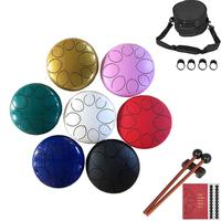 8 Inch 8 Notes Steel Tongue Drum Flower Style with Mallets Music Book Bag Percussion Instrument