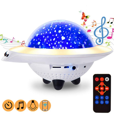 luz da noite usb recarregavel lampada novidade ufo estrela led com musica jogo criancas quarto