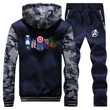 The Avengers Superhero Tracksuits Jacket Pant Set Men Warm Captain America Hulk Iron Man Sportsuits Hoodie Sweatpant 2 PCS Coat(China)
