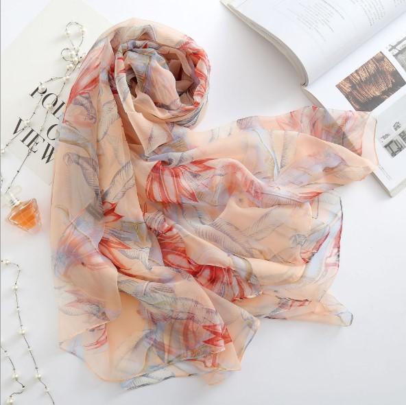 2019 Spring New Scarf Soft Yarn Women High-grade Silk Scarf Gift Oversized Printed Imitation Silk Shawl