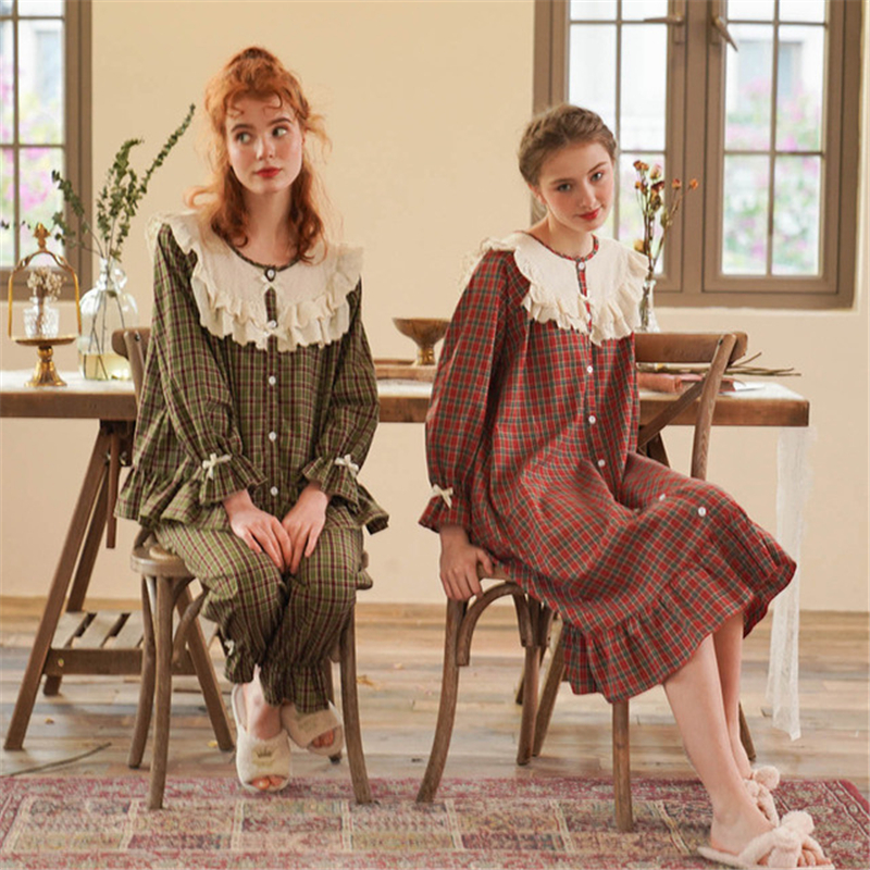 Pajamas Cotton Lattice Sexy Nightware Spring And Autumn Casual Home Service Suit Long Sleeve Army Green Sleepwear Women пижама