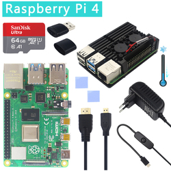 Original Official Raspberry Pi 4 Model B Kits Dual Fan Aluminum Case + 32/64 GB SD Card + Power Adapter + HDMI Cable for RPI 4